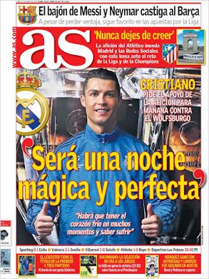 Portada AS: Cristiano Ronaldo anima al Madrid