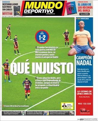 Portada Mundo Deportivo: Que injusto