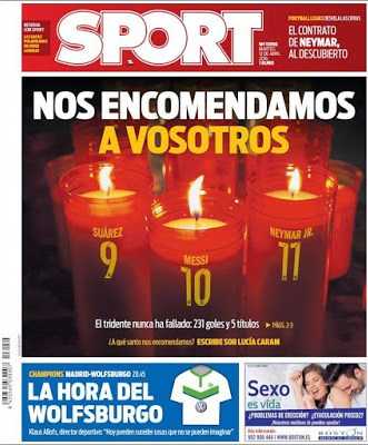 Portada Sport: El Barça se encomienda a la MSN