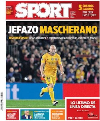 Portada Sport: Jefazo Mascherano