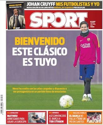Portada Sport: El clásico es de Messi