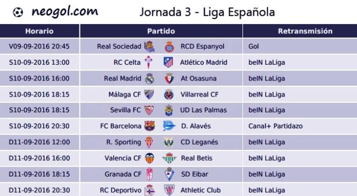 Jornada 3 Liga Española 2016
