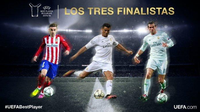 UEFA Best Player 2016 finalistas cristiano bale griezmann