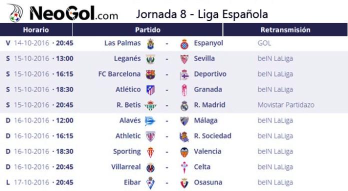 Jornada 8 Liga Española 2016