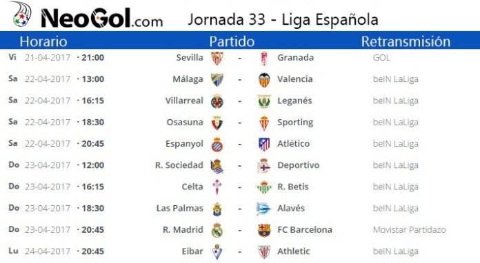 Jornada 33 Liga Española 2017