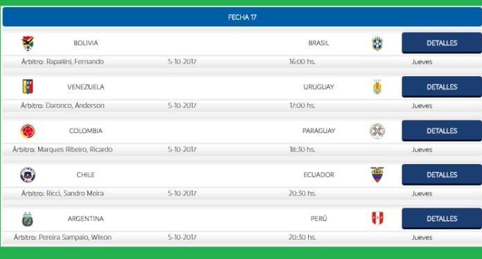 Eliminatorias Sudamericanas Fecha 17