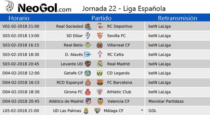 Jornada 22 Liga Española 2018