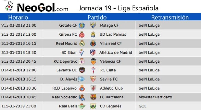 Jornada 19 Liga Española 2018