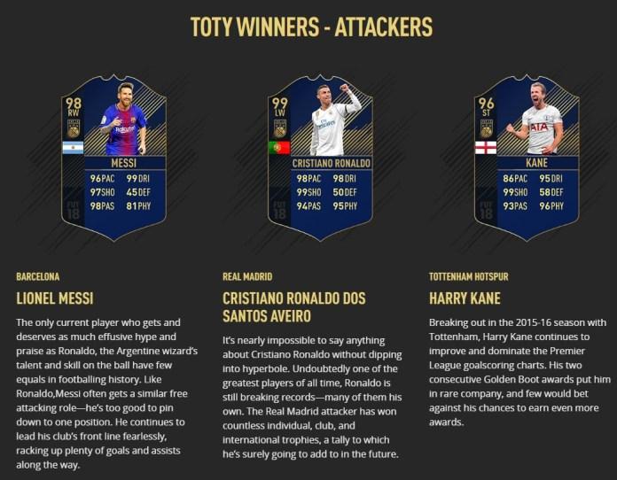 Delanteros Lionel Messi (FC Barcelona) Cristiano Ronaldo (Real Madrid) Harry Kane (Tottenham Hotspur)