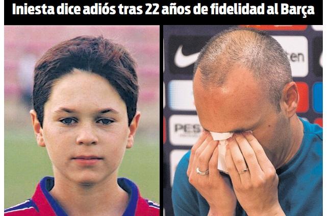 Iniesta dice adiós al Barça entre lágrimas