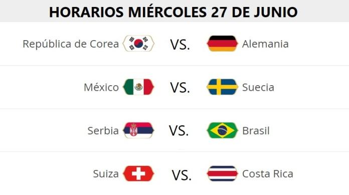 Partidos Miércoles 27 Junio Mundial Rusia
