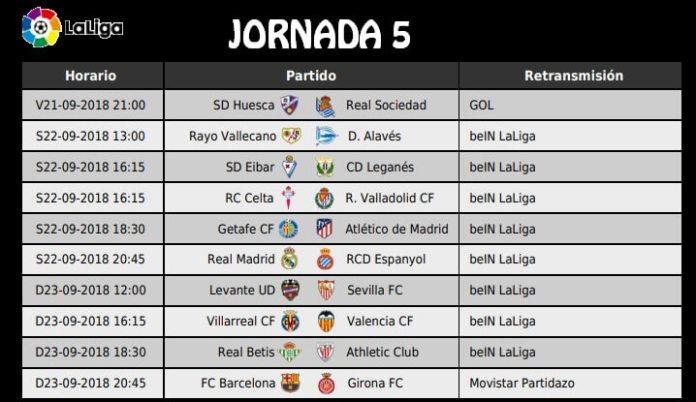 Jornada 5 Liga Española 2018