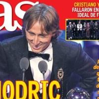 El mejor del Mundo es Modric, Oro Blanco en The Best | Las Portadas