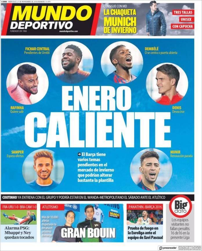 Portada Mundo Deportivo 21/11/2018