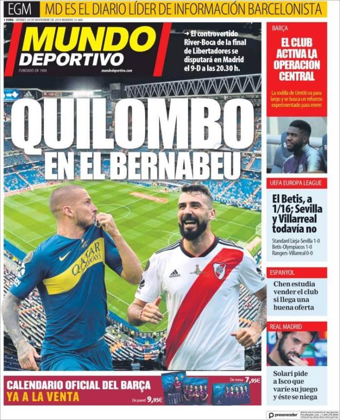 Portada Mundo Deportivo 30/11/2018