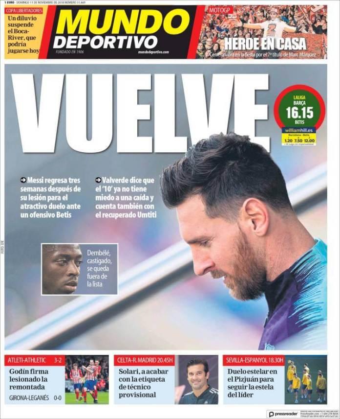 Portada Mundo Deportivo 11/11/2018