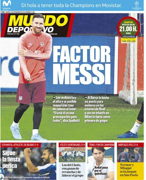 Portada Mundo Deportivo 6/11/2018