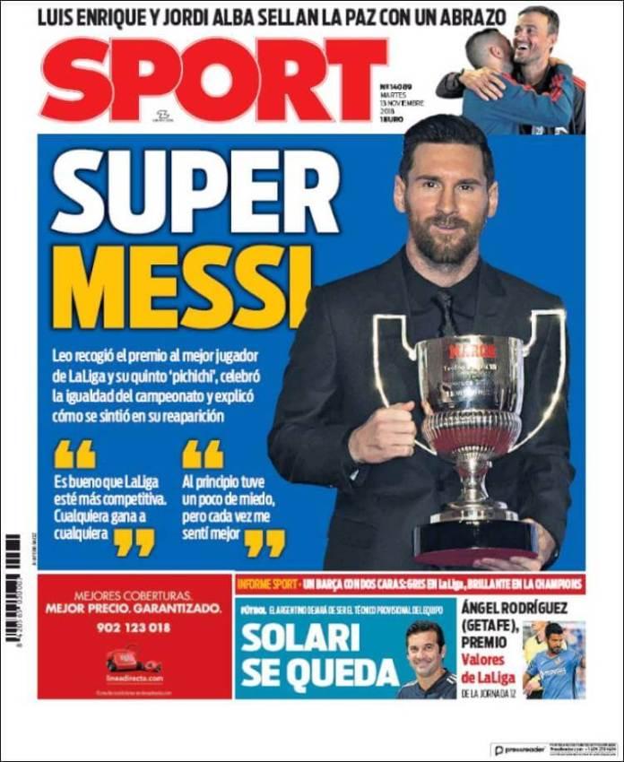 Portada Sport 13/11/2018