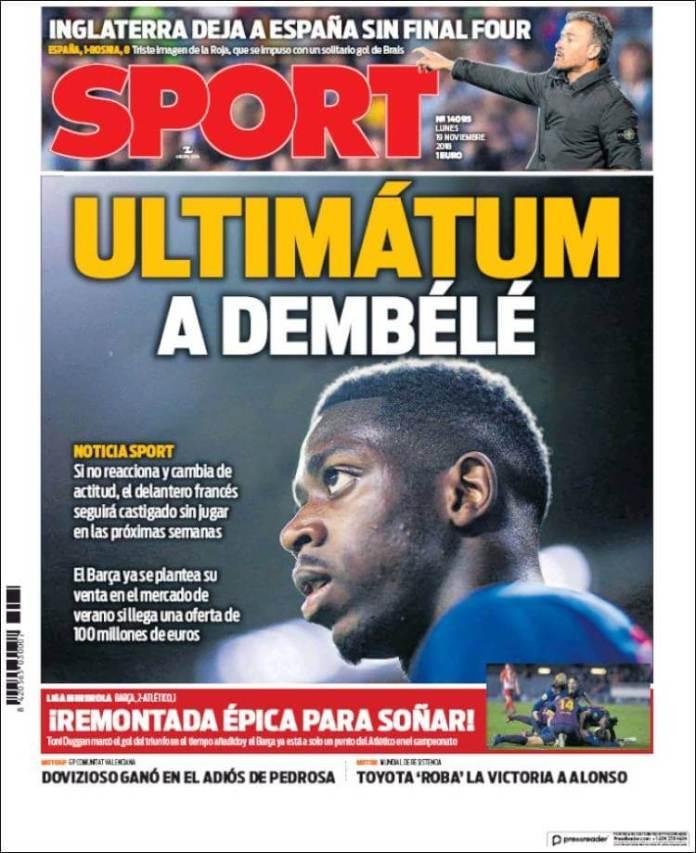 Portada Sport 19/11/2018