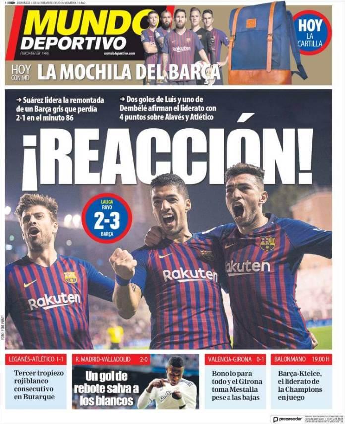 Portada Mundo Deportivo  4/11/2018