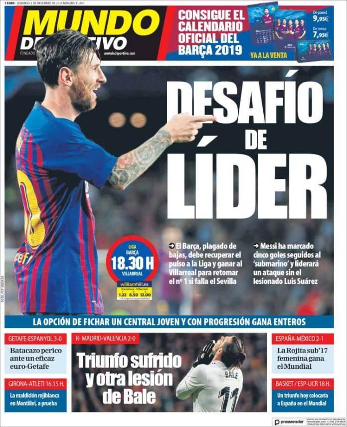 Portada Mundo Deportivo 2/12/2018
