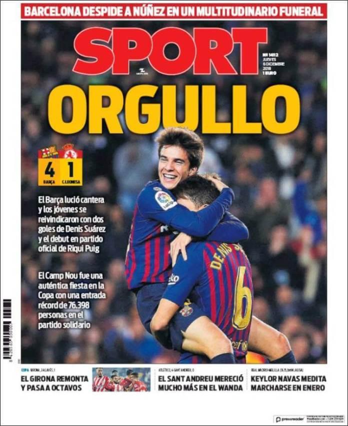 Portada Sport 6/12/2018