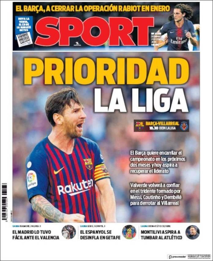 Portada Sport 2/12/2018