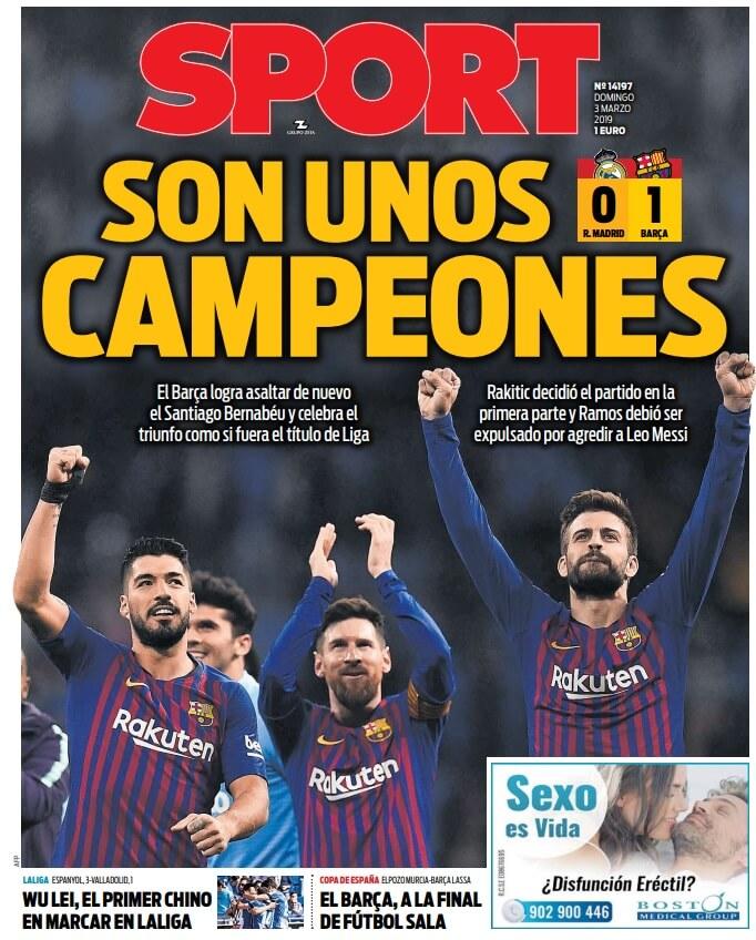 Portada Sport El Clásico