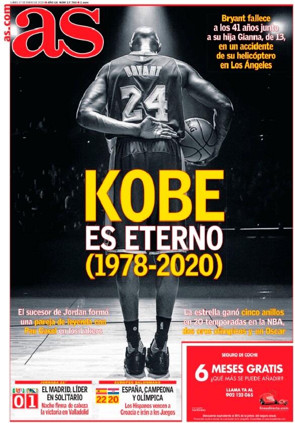 Portada as Muere Kobe Bryant
