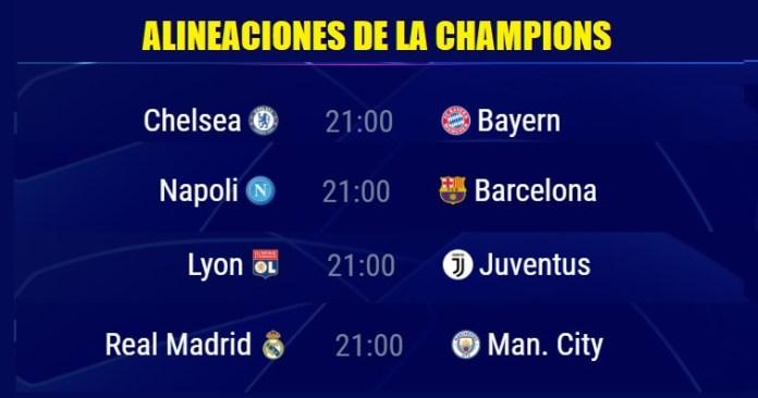Alineaciones Octavos Champions League 2020