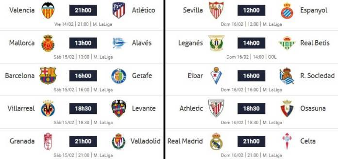 Partidos Jornada 24 Liga Española 2020
