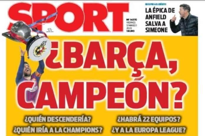Portadas Diarios Deportivos Viernes 13/03/2020