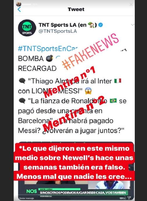 Messi Estalla en Instagram contra Fake News
