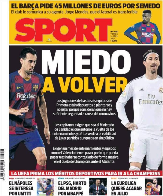 Portadas Diarios Deportivos Viernes 24/04/2020