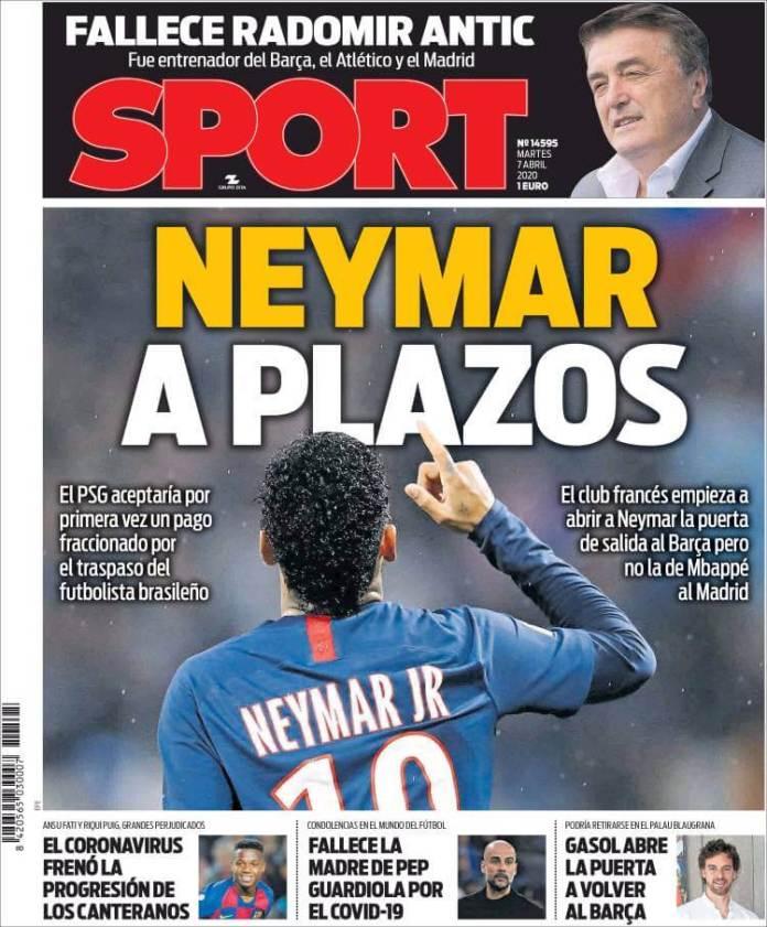 Portadas Diario Sport Martes 7/04/2020