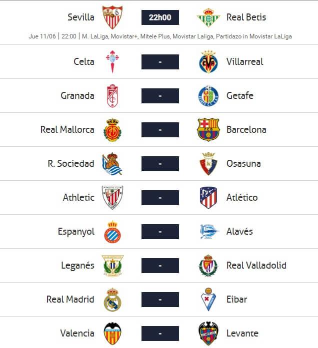 Jornada 28 liga española 2020