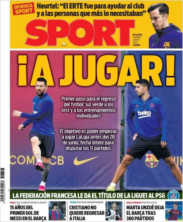 Portadas Diarios Deportivos Viernes 1/05/2020