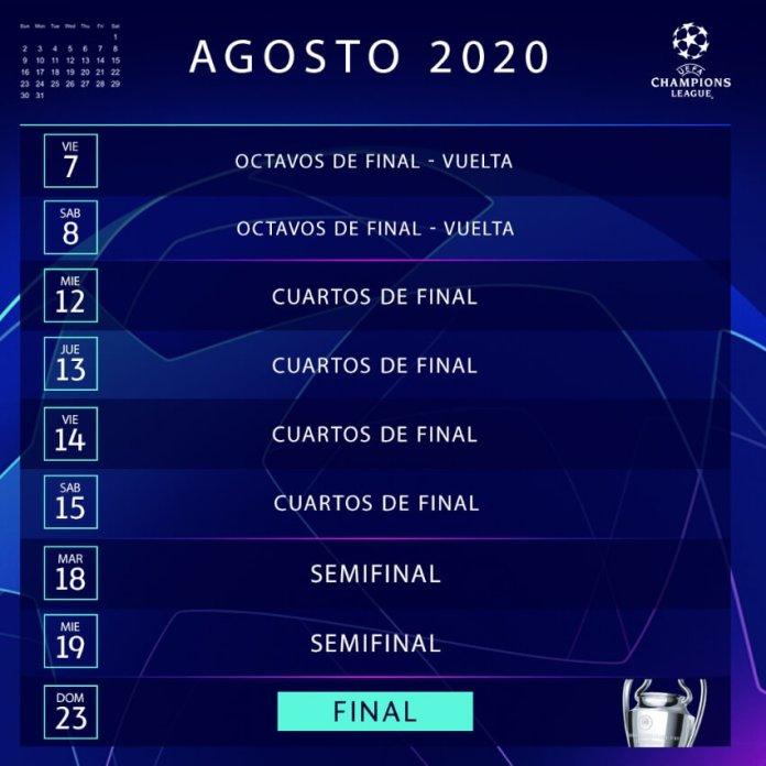 Calendario Champions League agosto 2020