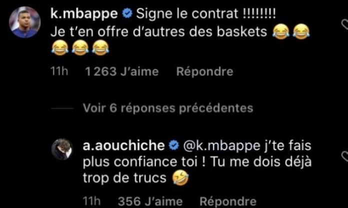 Mbappé le pide a Aouchiche que fiche por el PSG