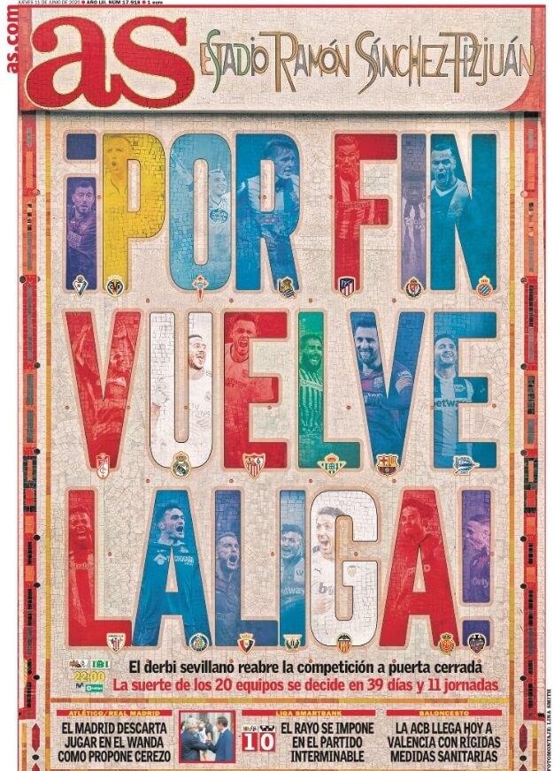 Portadas Diarios Deportivos Jueves 11/06/2020