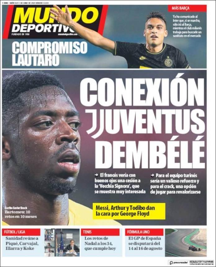 Portadas Diarios Deportivos Miércoles 3/06/2020