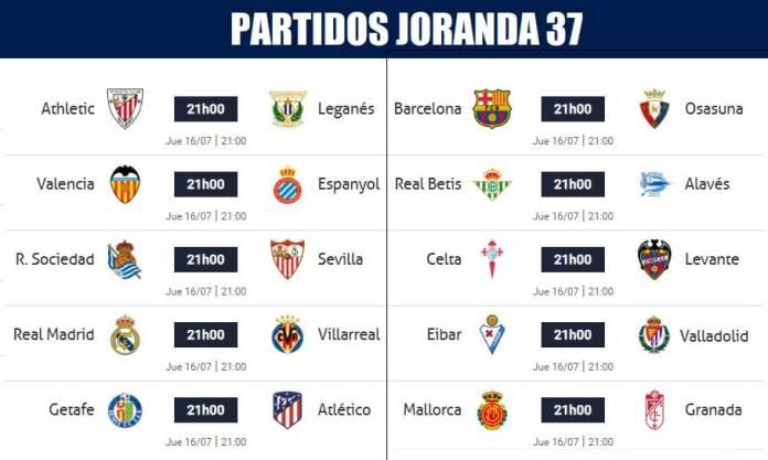 Partidos Jornada 37 Liga Española 2020