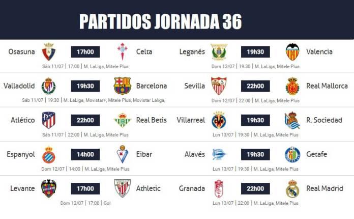 Partidos Jornada 36 Liga Española 2020