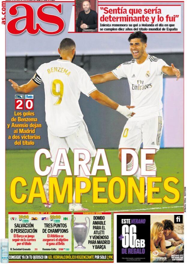 Portadas Diarios Deportivos Sábado 11/07/2020