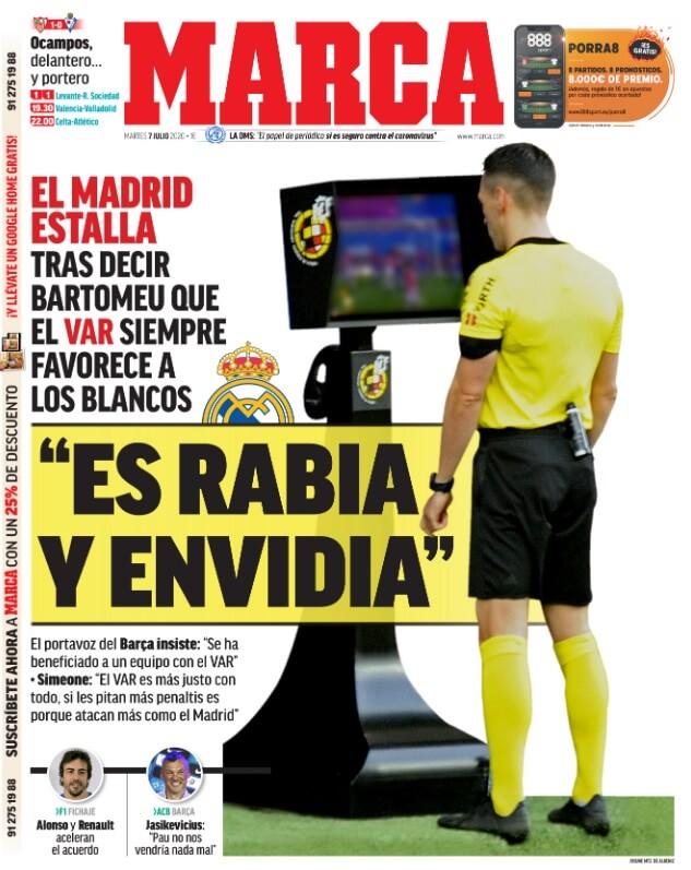 Portadas Diarios Deportivos Martes 7/07/2020