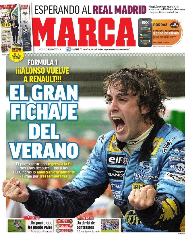 Portadas Diarios Deportivos Miércoles 8/07/2020