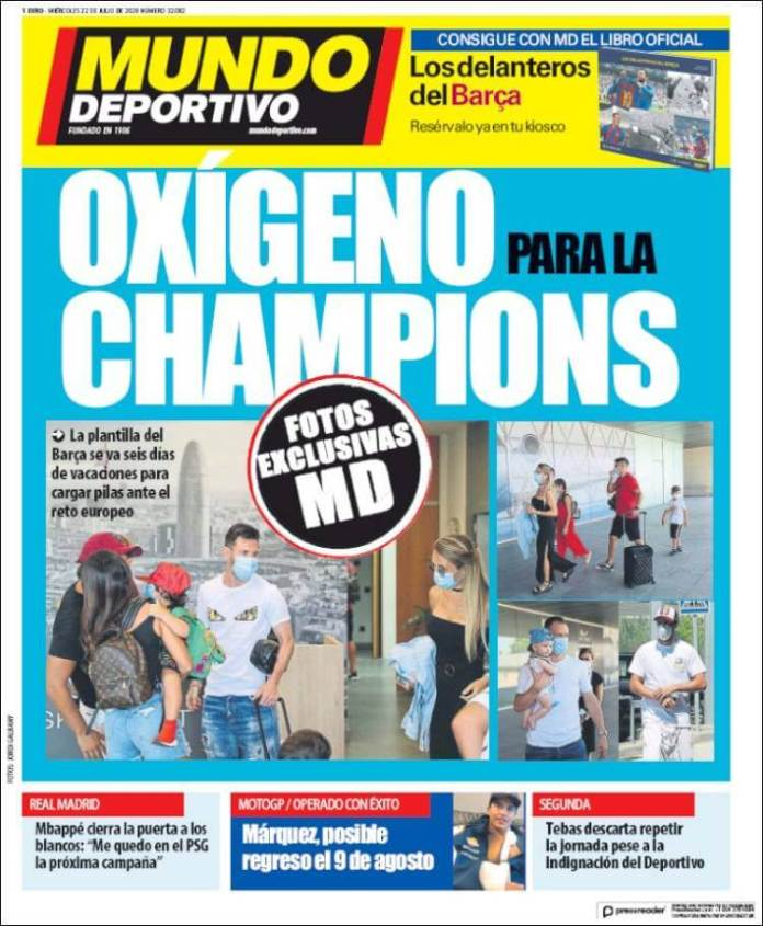Portadas Diarios Deportivos Miércoles 22/07/2020