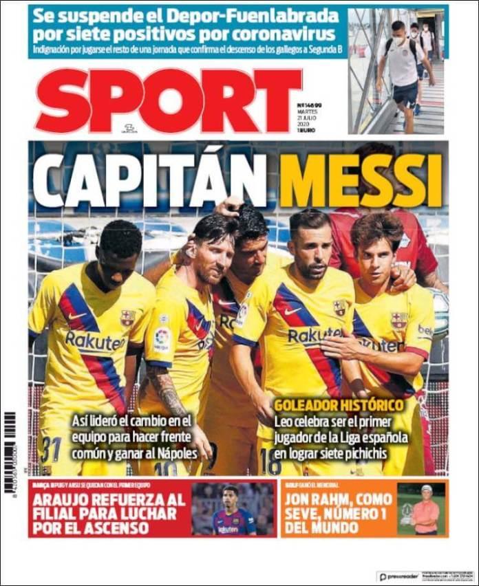 Portadas Diarios Deportivos Martes 21/07/2020