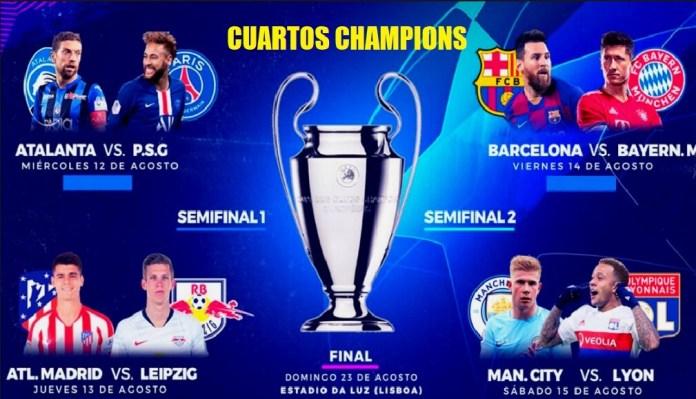Cuartos de final Champions 2020: fechas, horarios y TV