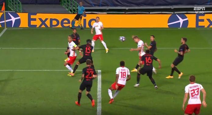 Gol de Dani Olmo que pone en ventaja al Leipzig